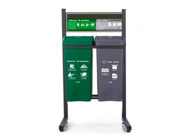 Punto Ecológico 35 Litros Con Tablero 2 Puestos (Gris, Verde) Estra 4-1008493