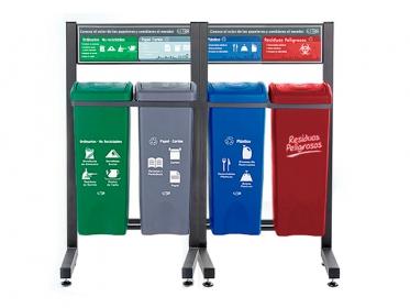 Punto Ecológico 53 Litros Con Tablero 4 Puestos (Verde, Gris Azul, Roja) Estra 4-1020127 R