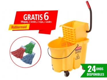 Promoción Balde con Escurridor 33 litros WaveBrake®  FG758088YEL Gratis 6 Mopas