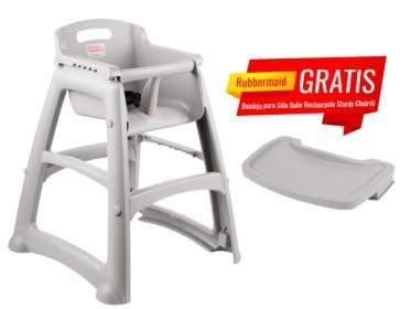 Silla Para Bebé Restaurante Sin Ruedas Sturdy Chair® Rubbermaid FG781408PLAT Gris