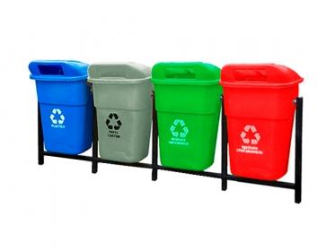 Punto Ecológico Colempaques 4 Puestos 100 Litros Sin Tablero (Azul, Gris, Verde, Rojo)