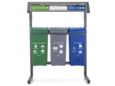 Punto Ecológico 35 Litros Con Techo 3 Puestos (Verde, Azul, Gris) Estra 4-1008481