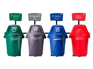 Punto Ecológico 121 Litros Con Tablero 4 Puestos (Verde, Azul, Gris, Rojo) Estra 4-1008434