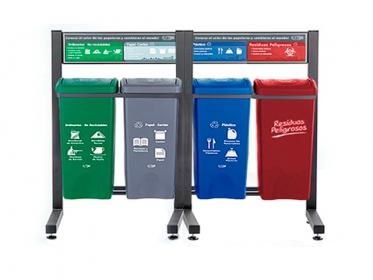 Punto Ecológico 35 Litros Con Tablero 4 Puestos (Verde, Gris Azul, Rojo) Estra 4-1028151 R
