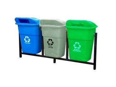 Punto Ecológico Colempaques 3 Puestos 100 Litros Sin Tablero (Azul, Gris, Verde)