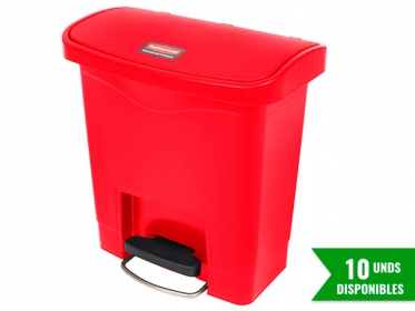 Papelera de Pedal Slim Jim Step-On 15 Litros Roja Rubbermaid 1883563