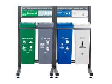 Punto Ecológico 53 Litros Con Tablero 4 Puestos (Verde, Gris Azul, Blanco) Estra 4-1020127 B