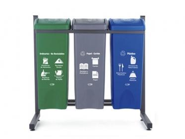 Punto Ecológico 53 Litros Eco 3 Puestos (Verde, Azul, Gris) Estra 4-1008453