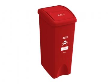 Papelera con Tapa Vaivén  53 Litros Rojo (Residuos Peligrosos) Estra 235787D-1004