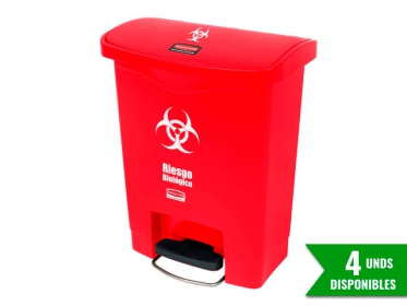 Papelera de Pedal Slim Jim Step-On 30 Litros Roja Rubbermaid 1883564