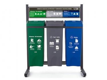Punto Ecológico 53 Litros Con Tablero 3 Puestos (Verde, Azul, Gris) Estra 4-1008426