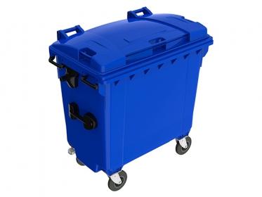 Contenedor de Basura con Ruedas y Tapa de 770 litros Azul Marca Plastic Omnium
