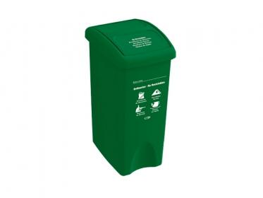 Papelera con Tapa Vaivén 35 Litros Verde (No Reciclable) Estra 235231D-1005