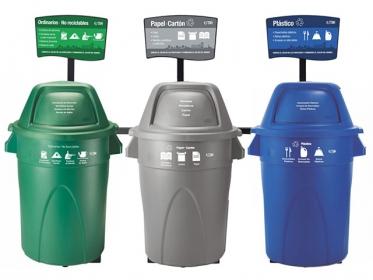 Punto Ecológico 121 Litros Con Tablero 3 Puestos (Verde, Azul, Gris) Estra 4-1008434