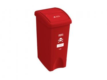 Papelera con Tapa Vaivén 35 Litros Rojo (Residuos Peligrosos) Estra 235231D-1004