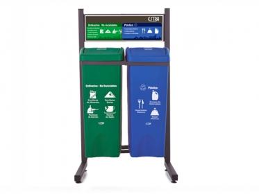 Punto Ecológico 53 Litros Con Tablero 2 Puestos (Verde,Azul) Estra 4-1019069