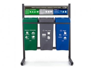 Punto Ecológico 35 Litros Con Tablero 3 Puestos (Verde, Azul, Gris) Estra 4-1008431