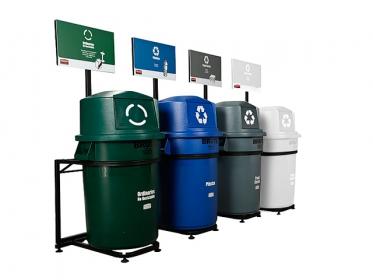 Punto Ecológico Brute ® 121 litros 4 Puestos (Verde, Gris, Azul y Blanco) Rubbermaid