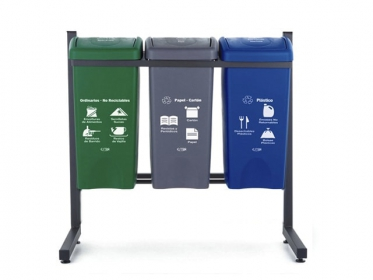 Punto Ecológico 35 Litros Eco 3 Puestos (Verde, Azul, Gris) Estra 4-1008456