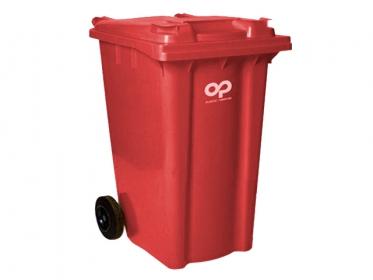 Contenedor de Basura 360 litros con Ruedas y Tapa Rojo