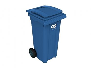 Contenedor de Basura 120 Litros con Ruedas y Tapa Azul Marca Plastic Omnium 120BLUE