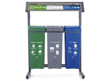 Punto Ecológico 53 Litros Con Techo 3 Puestos (Verde, Azul, Gris) Estra 4-1008483