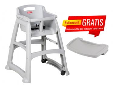Silla Para Bebé Restaurante Con Ruedas Sturdy Chair® Rubbermaid FG780508PLAT Gris