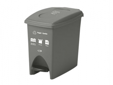 Papelera Pedal 10 Litros Gris Residuos Papel-Carton Marca Estra 235224D-1008