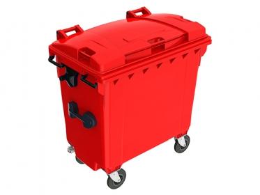 Contenedor de Basura Plastic Omnium 770 litros con Ruedas y Tapa Rojo