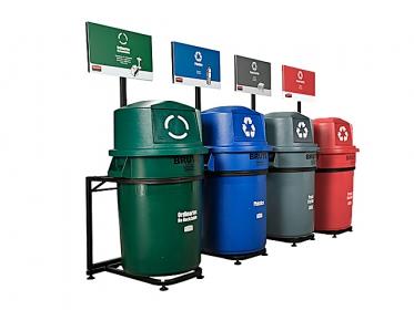 Punto Ecológico Brute ® 121 litros 4 Puestos (Verde, Gris, Azul y Rojo)  Rubbermaid