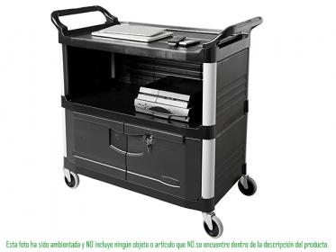 Carro de Instrumentos Xtra® Tres Estantes con Puertas Negro Rubbermaid FG409500BLA